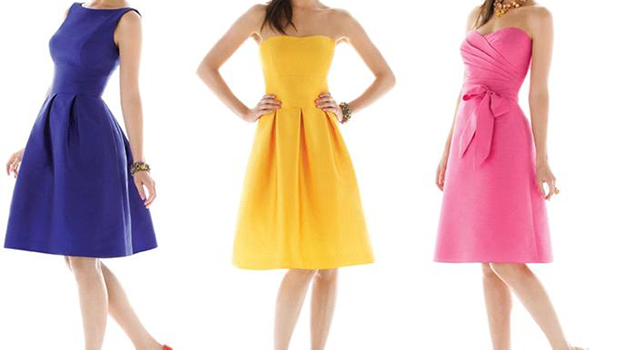 alfred-sung-royal-blue-bright-yellow-bubble-gum-pink-light-lime-green-bridesmaids-dresses-strapless-sweetheart-knee-length
